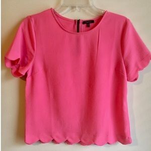 Anthropologie | Monteau Pink Scalloped Top - Med.